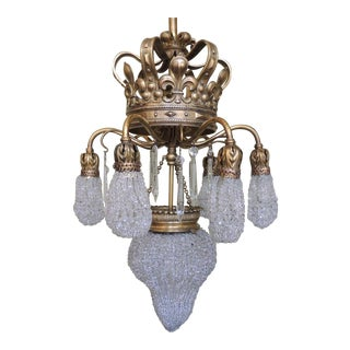 Early 20th C French Moroccan Bronze and Crystal Bead Chandelier