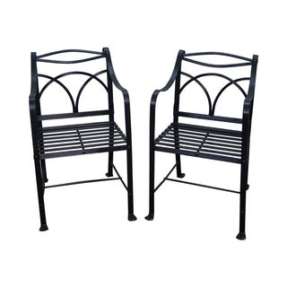 Winterthur Black Iron Sheraton Arm Chairs - Pair