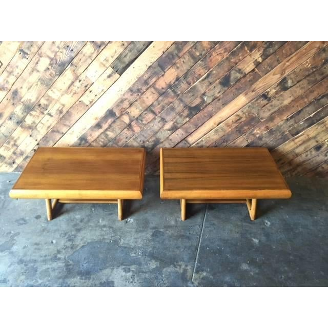 Mid-Century 50's Walnut Maple Side Tables - Image 4 of 5