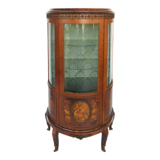 Italian Marquetry Curved Glass Curio