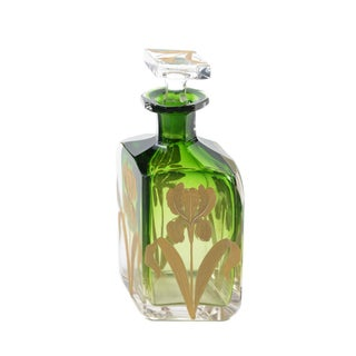 Moser Bohemian Emerald Green Glass Parfume Bottle