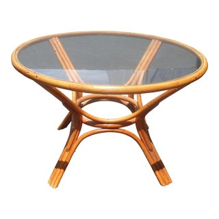 Vintage Mid Century Modern Bentwood Bamboo Dining Room Table Tiki Palm Beach