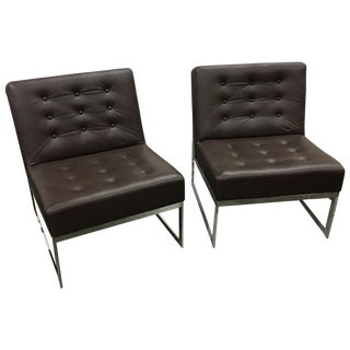 Drexel Heritage Leather & Chrome Chairs - a Pair