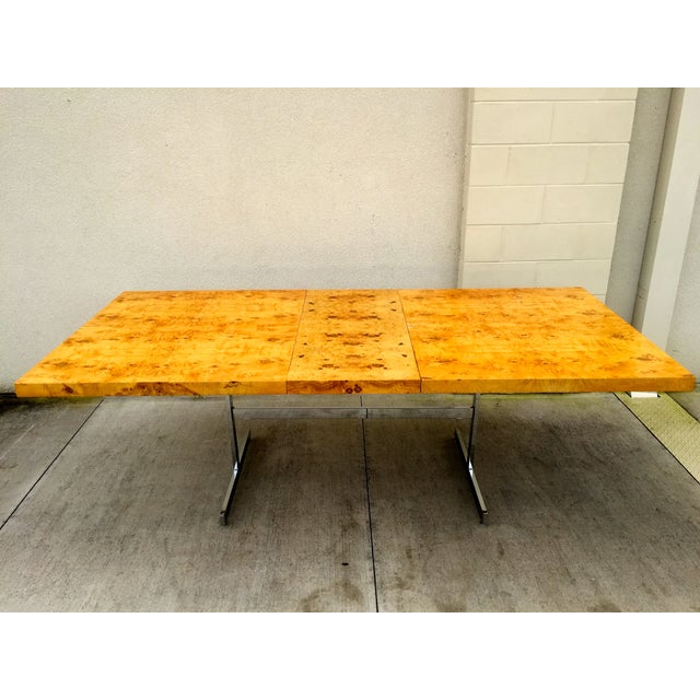 Burl Wood & Chrome Dining Table - Image 2 of 11