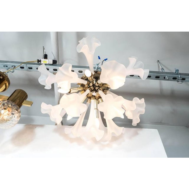 Handblown Flush Mount Murano Chandelier in Brass with Frosted Glass Flowers - Image 5 of 9
