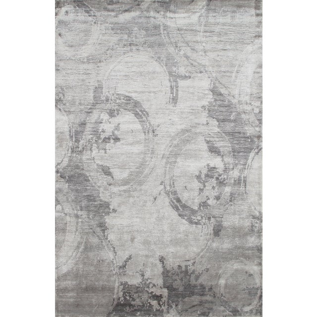 """Modern Silk Rug: Modern Gray Bamboo Silk Area Rug - 5'6"""" X 8'6"""""""
