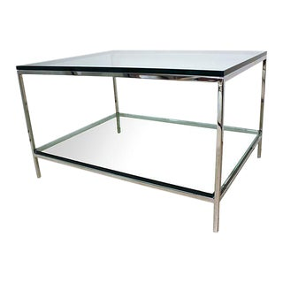 Chrome & Glass Two-Tiered Cocktail Table
