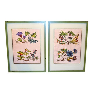 Chinoiserie Hand Colored Floral Prints, Jean-Baptiste Style - Pair