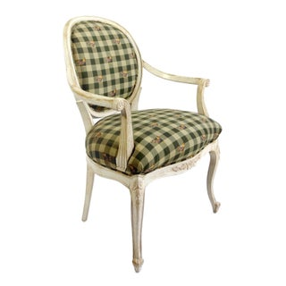 Louis-Style Chair With Gingham & Rooster Fabric