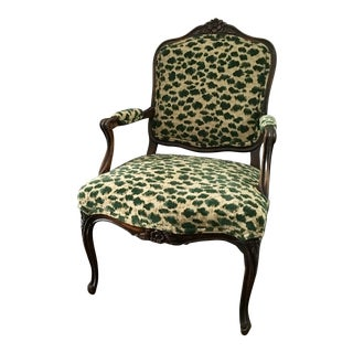 Vintage Louis XV Hand Carved Bergere Accent Chair