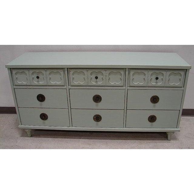 Vintage Antique Jade Painted Low Dresser - Image 2 of 4