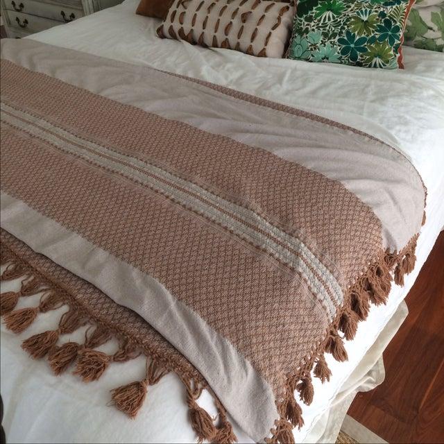 Brown Mexican Tassel Blanket/Throw - Image 3 of 6