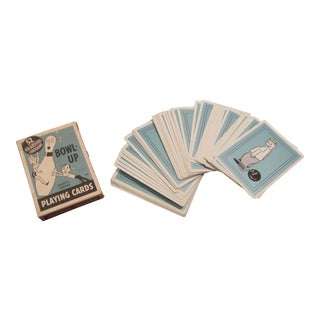 Vintage Playing Cards With Cartoons and Bowling Theme