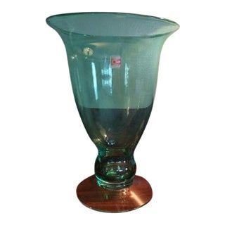 1999 Blenko 9922s Antique Green Pedestal Vase