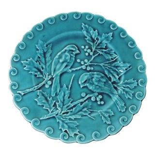 Antique Majolica Blue Bird Plate
