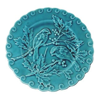 Antique Majolica Blue Bird Plate