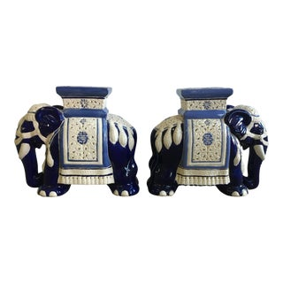 Blue & White Elephant Garden Stools - a Pair