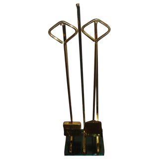 Brass and Glass Italian Fontana Arte Fire Tool Set