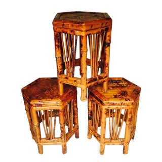 Vintage Bamboo Plant Stands - Set of 3