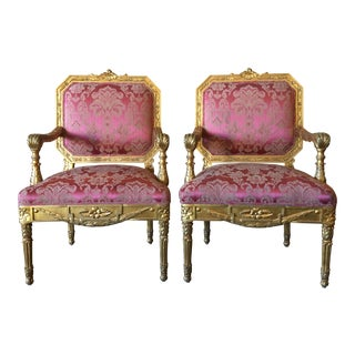 Antique French Gilded Armchairs - Pair