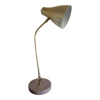 Vintage Brass & Marble Atomic Desk Lamp