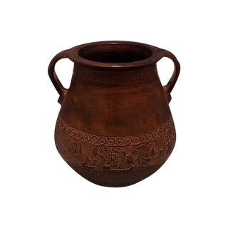 Antique Greek Stoneware Pottery Urn With Handles