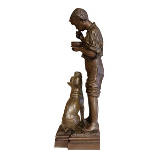 Tall Early 20th Century French Spelter Figurine Signed Rousseau and Dated 1932