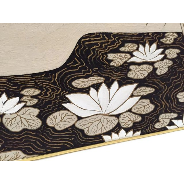 Vintage Abstract Lotus Canvas Art Work - Image 4 of 7