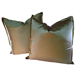 European Style Gold & Pink Satin Pillows - A Pair