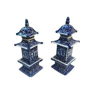 Blue & White Chinese Pagoda Vases, Pair