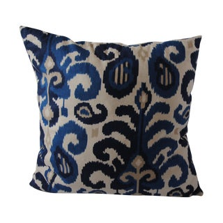 Custom Blue Ikat Pillows - A Pair