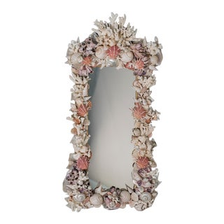 Sea Shell Mirror of Rectangular Shape with Nautilis and Scallop