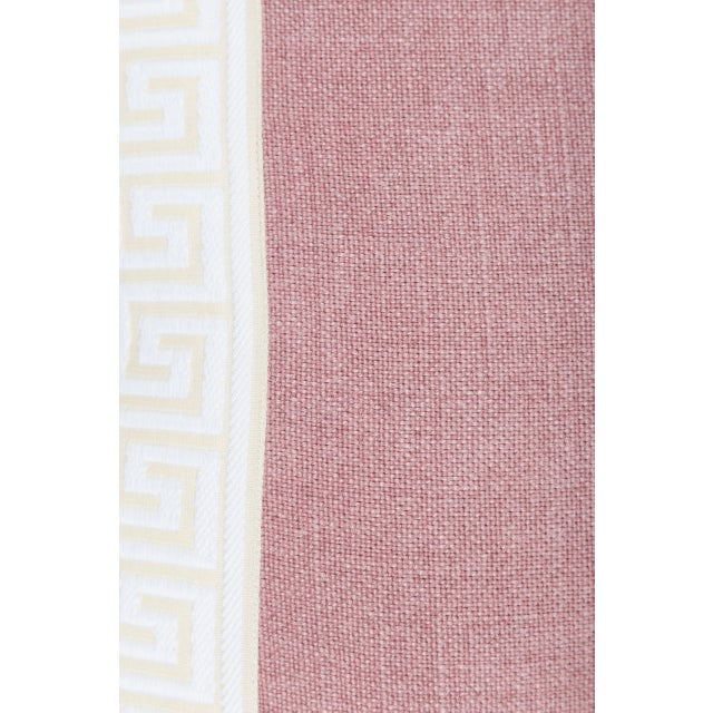 Pink Linen & Ivory Greek Key Pillows - A Pair - Image 3 of 5