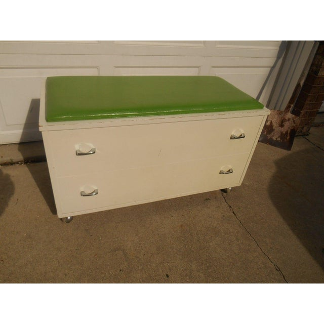 White Green Wood Bench Storage Trunk Chest Chairish