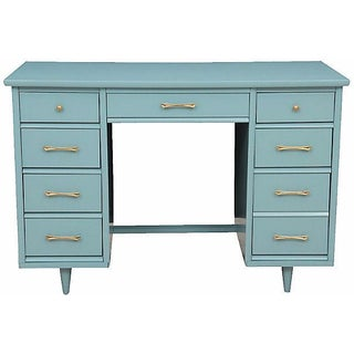 Mid-Century Pale Blue Desk