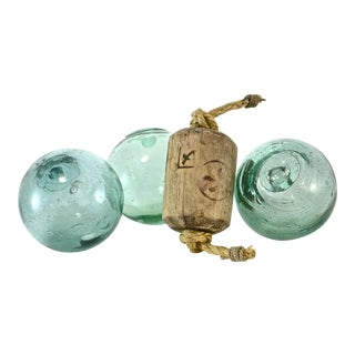 Antique Kanji & Aqua Blown Glass Floats - Set of 4