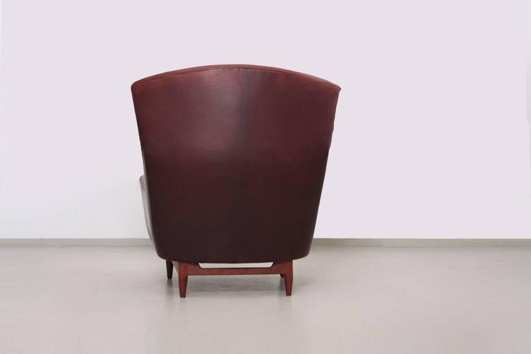 Rare Large Jens Risom Lounge Chair In Leather   Image 5 Of 9