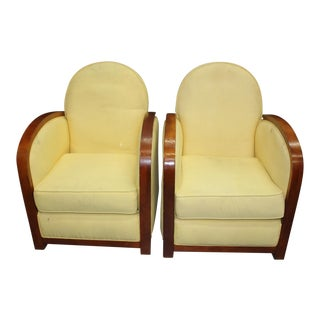 French Art Deco Speed Armchairs or Club Chairs, circa 1940s - a Pair