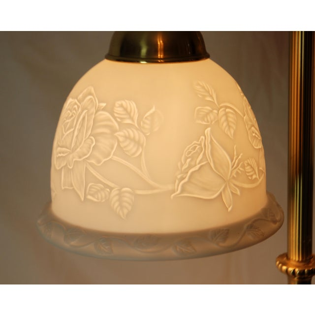 Image of Victorian Style Brass Double Lamp & Bisque Shades