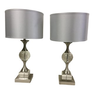Modern Silver & Glass Table Lamps - Pair