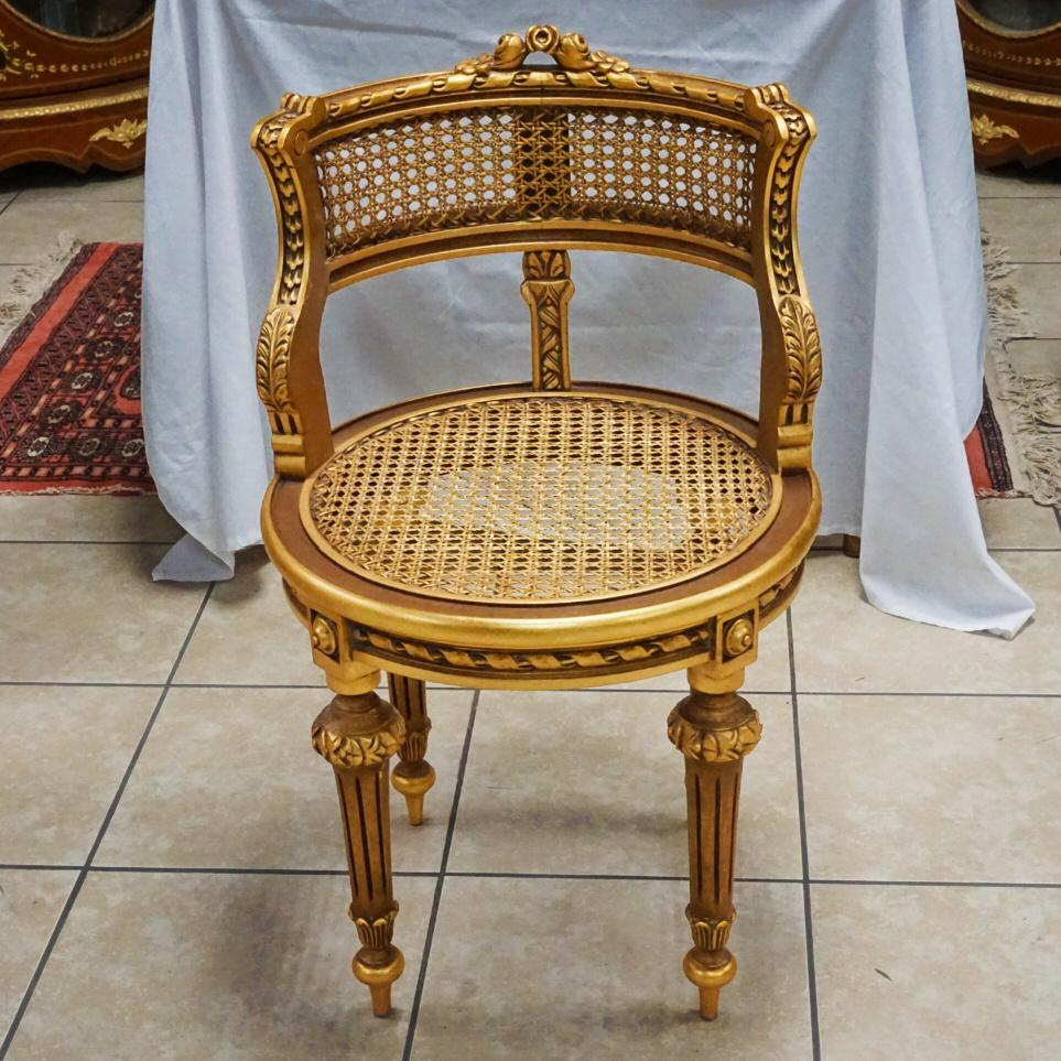 Gold Caned French Style Accent Chair   Image 5 Of 7