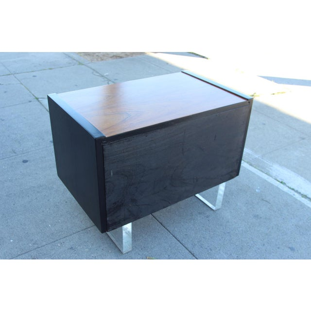 Mid-Century Wooden Nightstand on Lucite Base - Image 5 of 11