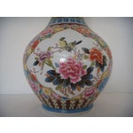 Image of Large Oriental Gold/Floral Hand Painted Vase H22""