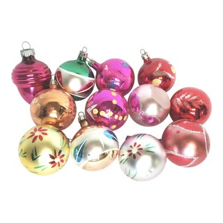 Vintage Fancy Glass Christmas Ornaments - S/12