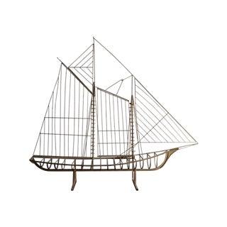Mid-Century Curtis Jere Brass Ship Sculpture