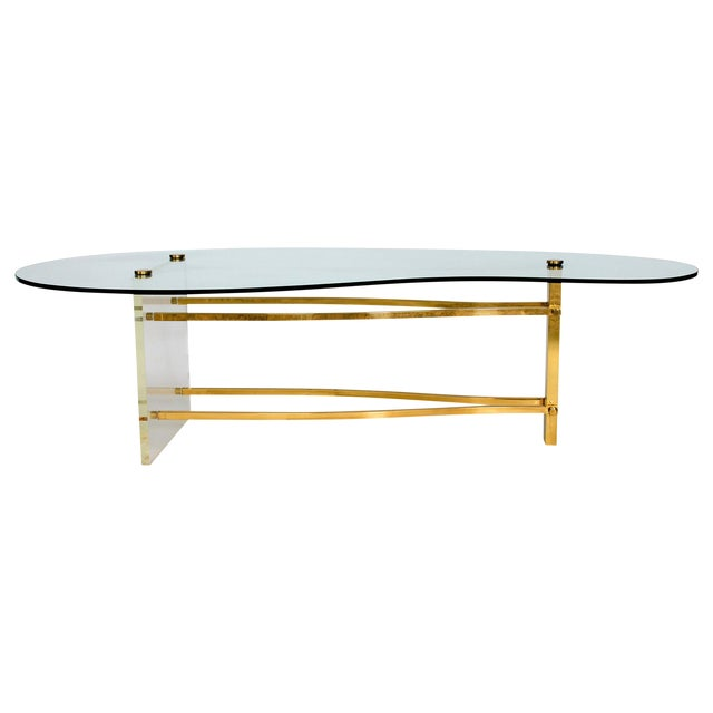 1960s brass lucite coffee table chairish for Lucite and brass coffee table