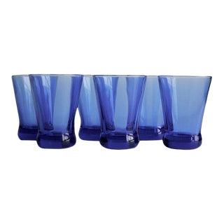 Vintage Blue Glasses, Set of 6
