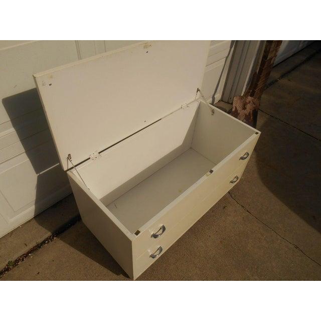 white green wood bench storage trunk chest chairish. Black Bedroom Furniture Sets. Home Design Ideas