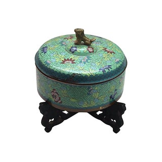 Late 19th C. Cloisonné Foo Dog Box with Stand