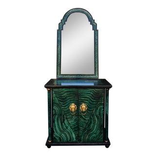 Vintage Mid Century Modern Faux Malachite Cabinet & Mirror